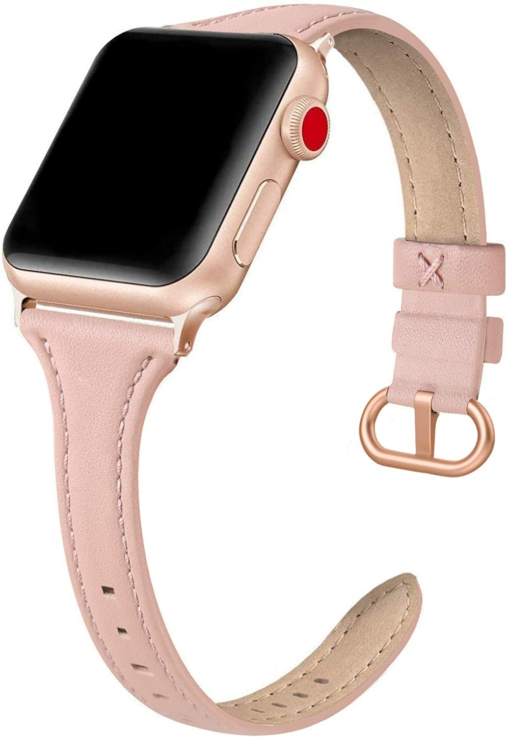 EDIMENS Leather Bands Compatible with Apple Watch 38mm 40mm Band Women, Slim Thin Genuine Leather Band Compatible for iWatch Apple Watch Series 6, 5, 4, 3, 2, 1, SE, Sport & Edition Women