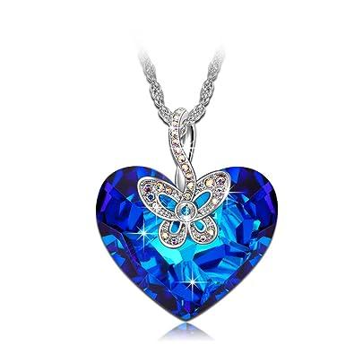 collier femme coeur bleu