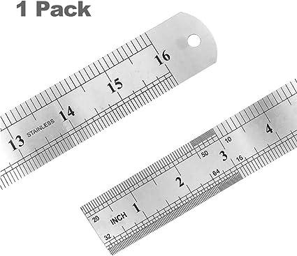 2 PACK 40 cm Regla de acero inoxidable con mesa de conversión, regla de dibujo, pulgadas y centímetros de regla, regla de metal para escuela, oficio, maquinista e ...