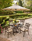 Hanover Outdoor Furniture 5 Piece Traditions Deep Cushioned Dining Set with Umbrella Review