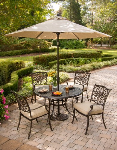 Hanover TRADITIONS5PC-SU 5 Piece Traditions Deep Cushioned Dining Set with Umbrella Outdoor Furniture, Tan (At Umbrellas Depot Home Patio)
