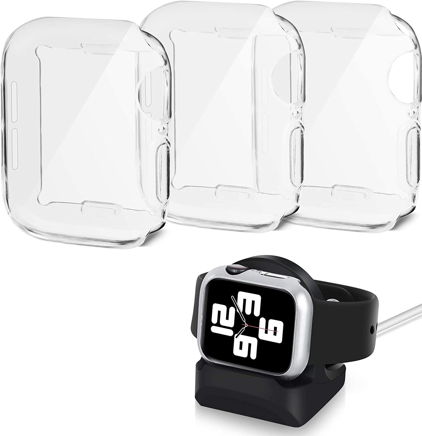HOATWOU 3Pack Screen Protector Case for Apple Watch,HD Ultra-Thin Fit Shockproof Case for iwatch Series 4/5/6/SE,with Watch Charging Stand