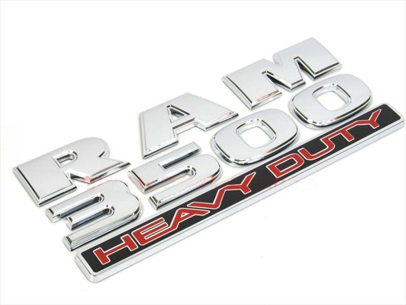 Yoaoo 3x OEM Chrome RAM 3500 HEAVY DUTY Plus 4x4 Emblem Badge 3D Emblem Decal Nameplates Flat Letter New Matte