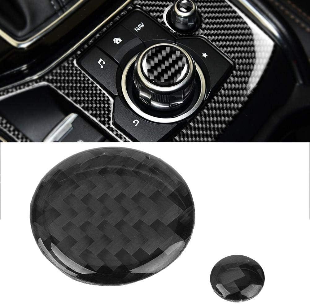 Keenso 2Pcs Real Carbon Fiber Parts Knob Volume Button Cover Trim For Mazda CX-5 2017-2018 Interior Accessories Car Volume Button Trim