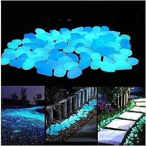 partysu 10pc Glow in The Dark Garden Pebbles,Luminous Stones Rocks for Garden Aquariums Decoration,Outdoor Decor Glow Rocks for Backyard Walkway Pathway Lawn Gift