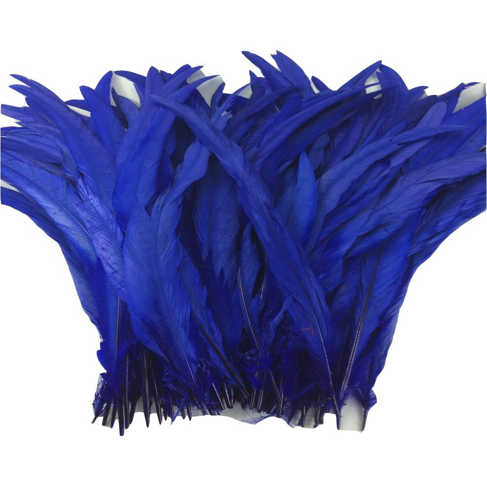 KOLIGHT Set of 1000pcs 14~16inch Natural Rooster Coque Tail Feathers for DIY Home Wedding Party Office Decoration (Royal Blue)