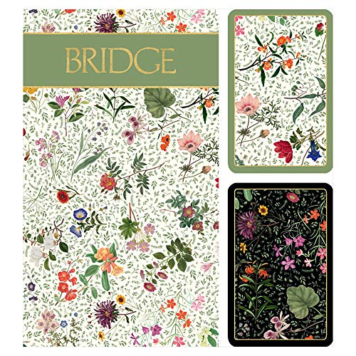 (Caspari English Country Garden Large Type Bridge Gift Set, 2 Playing Card Decks & 2 Score)