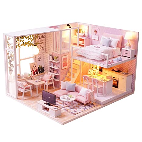 Model Building Hot Sale Diy 3d Wooden Miniatures Dollhouse With Furniture Assembled Puzzle Model Bule Heart Gifts For Kids Toys