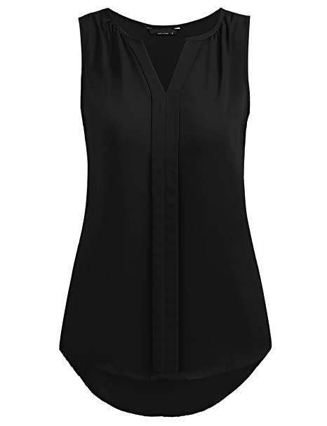 ff55248a637 Grabsa Women's Chiffon Blouse Notch Neck Sleeveless Pleated Front Tank Top  at Amazon Women's Clothing store: