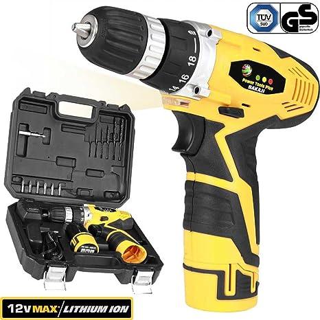 Bakaji Power Tools Taladro Atornillador A Batería de litio de maletín 12 V CORDLESS Drill Con