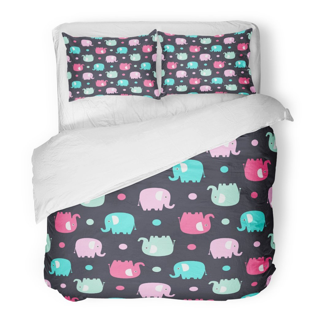 SanChic Duvet Cover Set Cute Flat Elephant with Fun Color Silhouette and Dots Sweet for Babies Children Pastel Pink Green Decorative Bedding Set with 2 Pillow Shams Full/Queen Size