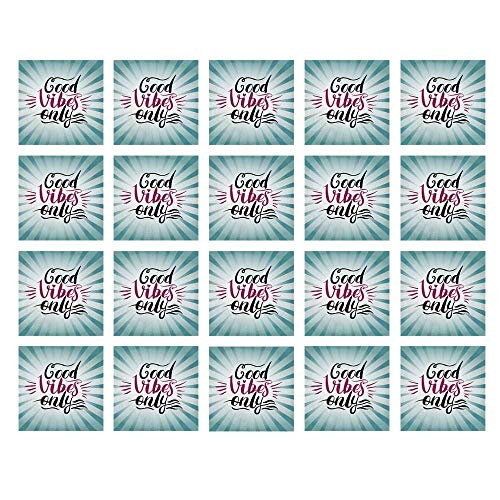 Radial Tile - YOLIYANA Good Vibes Waterproof Ceramic Tile Stickers,Retro Radial Composition Abstract Sunburst Hand Lettering Typography Decorative for Kitchen Living Room,One Size