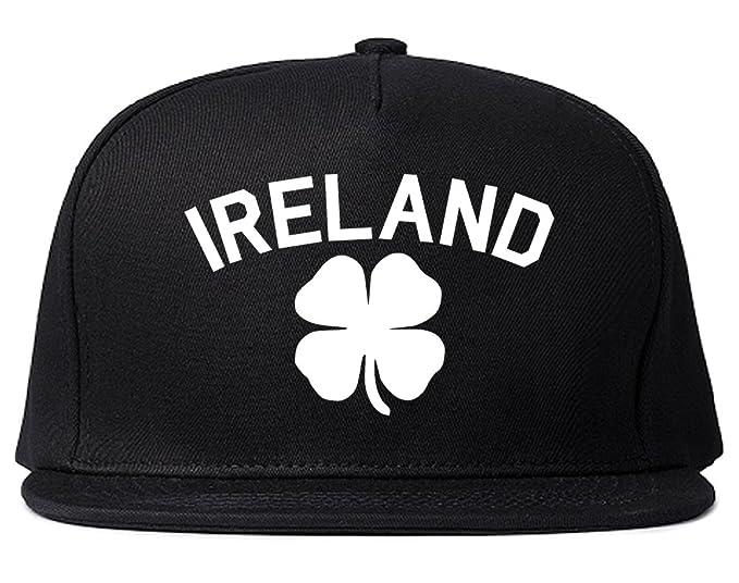 6205bc12ad428 Ireland Shamrock St Paddys Day Mens Snapback Hat Black at Amazon Men s  Clothing store