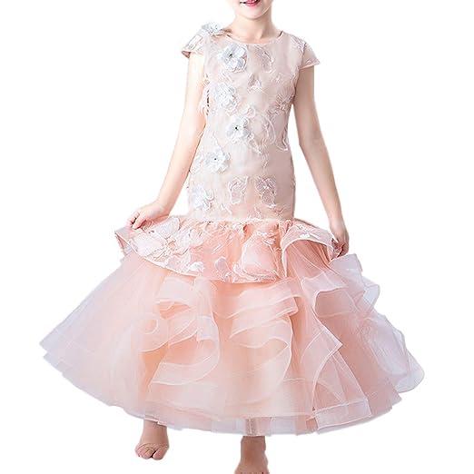 Falda de Cola de Pescado Vestido Fiesta Niña Princesa con Encajes ...