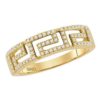 Amazon.com  10k Yellow Gold Diamond Greek Key Ring Fashion Square ... fe3db45d6e