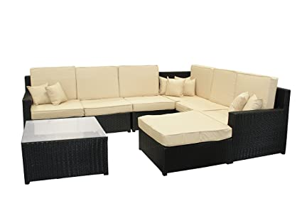 Amazon.com: Mimbre de resina, 8-Piece Negro Sofá de muebles ...