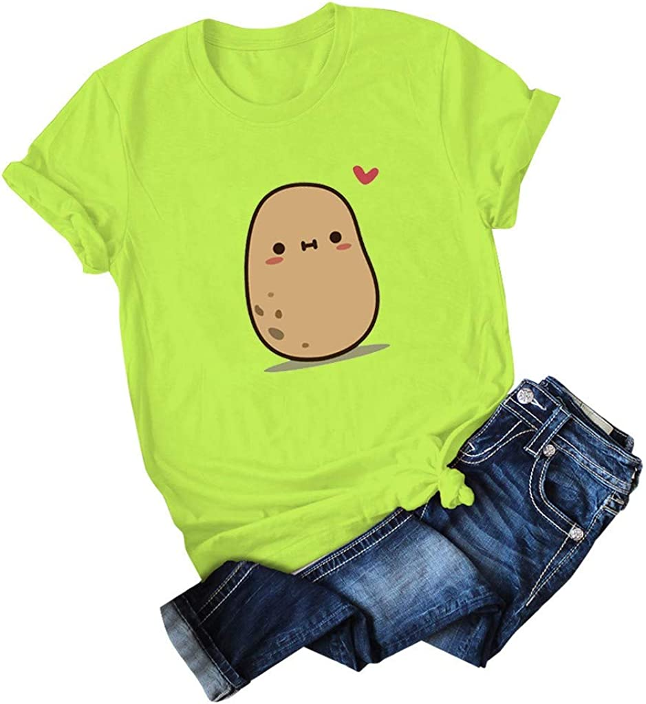 STORTO Teen Girls Printed Tops Blouse Womens Cute Potato Short Sleeve Lovers Summer Casual Holiday T-Shirts