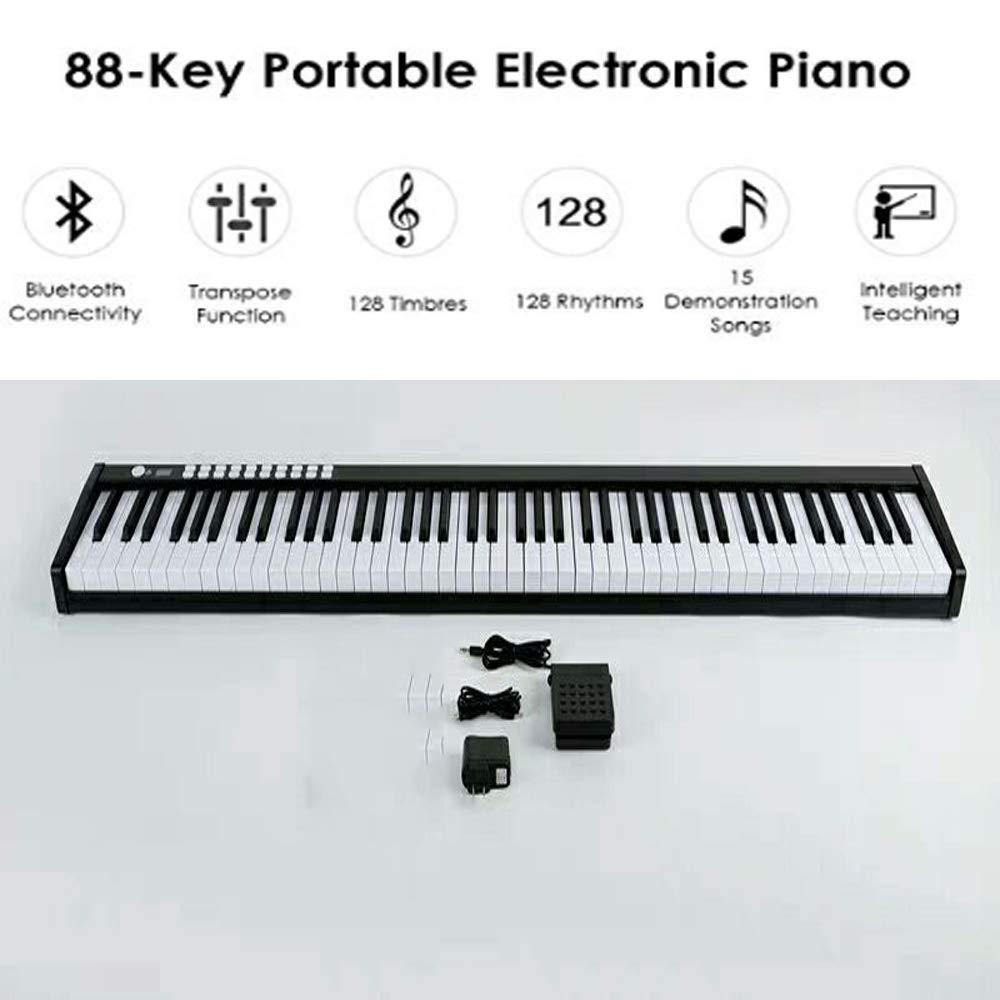 88-Key Digital Piano, MIDI Bluetooth Portable Electronic Keyboard (Black) by JXGOOD