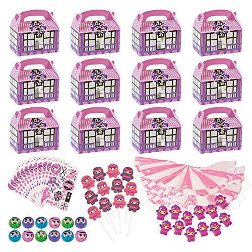 Pink Ninja Party Favor Assortment (48 Count) And Treat Goody Boxes (12 Count) - 60 Pieces Total