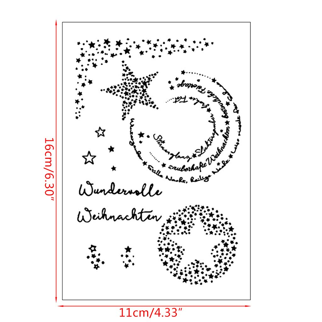 Mmnas German Star DIY Silicone Clear Stamp Cling Seal Scrapbook Embossing Album Decor