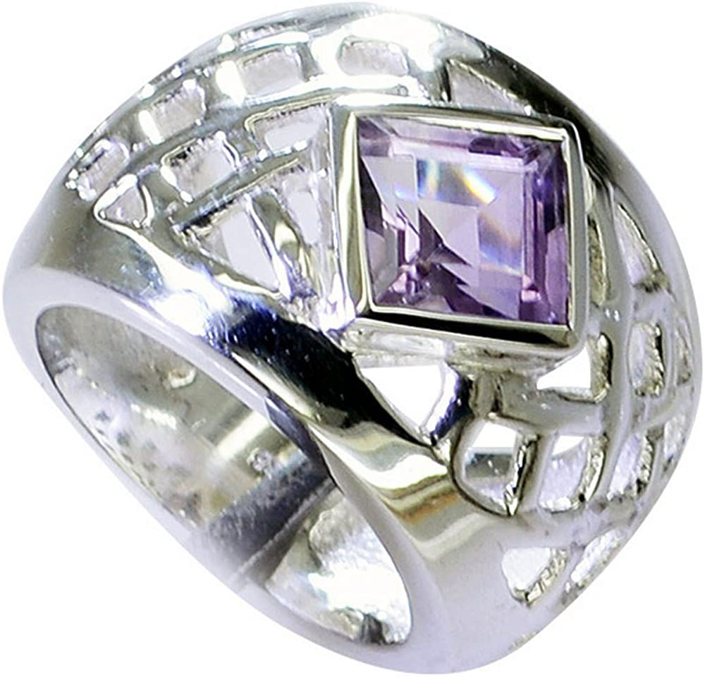 Genuine Amethyst Ring Sterling Silver For Men February Chakra Healing Bezel Style Size 5,6,7,8,9,10,11,12