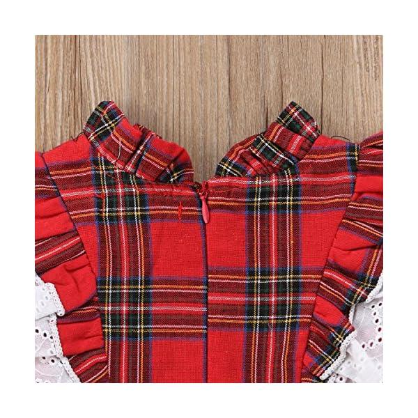 Carolilly Vestiti Sorella Grande e Piccola Natale Neonata Bambina Pagliaccetto in Pizzo Abito Principessa a Quadri Rosso… 7