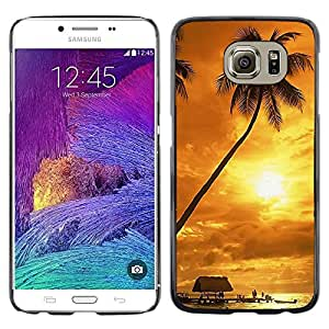Exotic-Star ( Sunset coconut Beautiful Nature 122 ) Fundas Cover Cubre Hard Case Cover para Samsung Galaxy S6 / SM-G920 / SM-G920A / SM-G920T / SM-G920F / SM-G920I