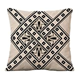 Mypillow Best Deals - Lino y Algodón Square Throw decorativos funda de almohada Funda para cojín (45,7 x 45,7 cm,  LJY081-5-Black