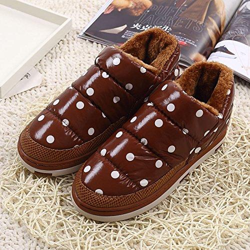 Wave Zapatillas El Exterior Algodón Dot Grueso Suelo y Plus Zapatillas Terciopelo Café2 de de Antideslizante Desgaste Zapatos Home DogHaccd Interior Stay Algodón Invierno qX1ZwqY