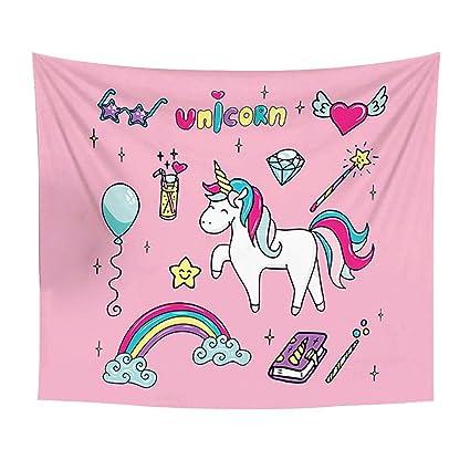 Dibujos animados Unicorn dormitorio tapiz toalla de playa manta de Picnic multicolor decoración, poliéster,