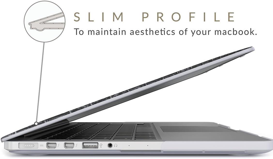 BURGA H/ülle Kompatibel F/ür MacBook Pro 15 Zoll Aus Den Jahren 2012-2015 Modell A1398 Retina Display Schwarz Leder Leather Skin Plastik Case