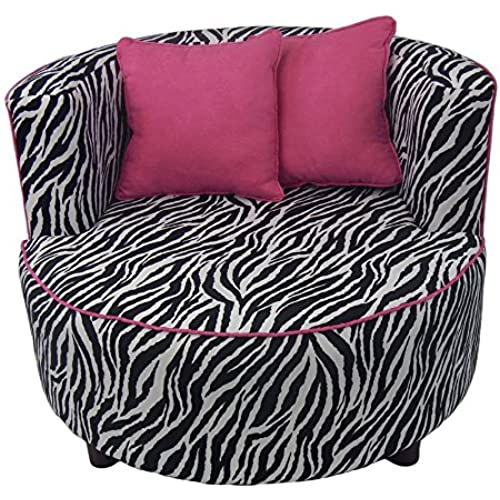 Fun Furnishings 25250 Hipster Tween Zebra Pink Kid's Chair, Multicolor