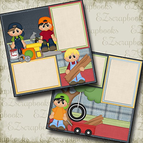 BOYS BEING BOYS - Premade Scrapbook Pages - EZ Layout 424