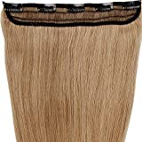 s-noilite 18-22 3/4 Full Head 1 Piece 5 Clips Clip in Remy Human Hair Extensions Silky Straight