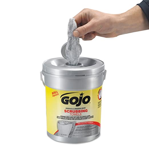 Amazon.com: GOJO 639606 Scrubbing Towels, Hand Cleaning, Fresh Citrus,10 1/2x12 1/4, 72/Canister,6/Crtn: Home & Kitchen