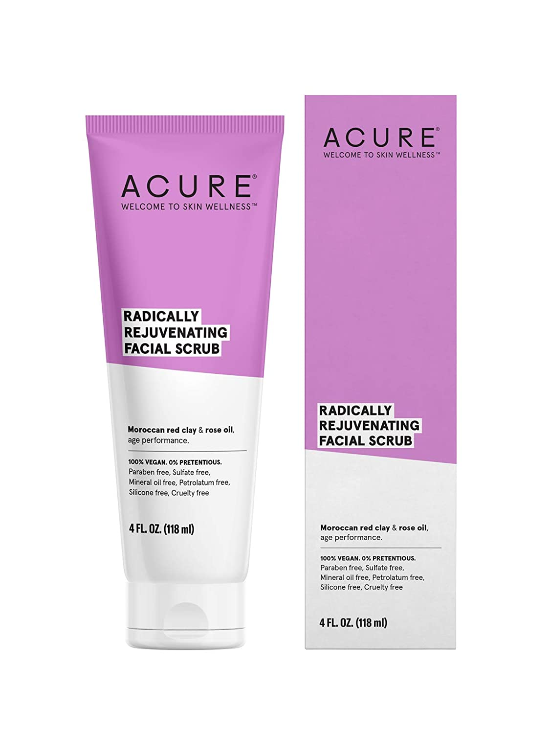 ACURE Radically Rejuvenating Facial Scrub | 100% Vegan | Provides Anti-Aging Support | Moroccan Red Clay & Rose Oil - Gently exfoliates and Softens | 4 Fl Oz