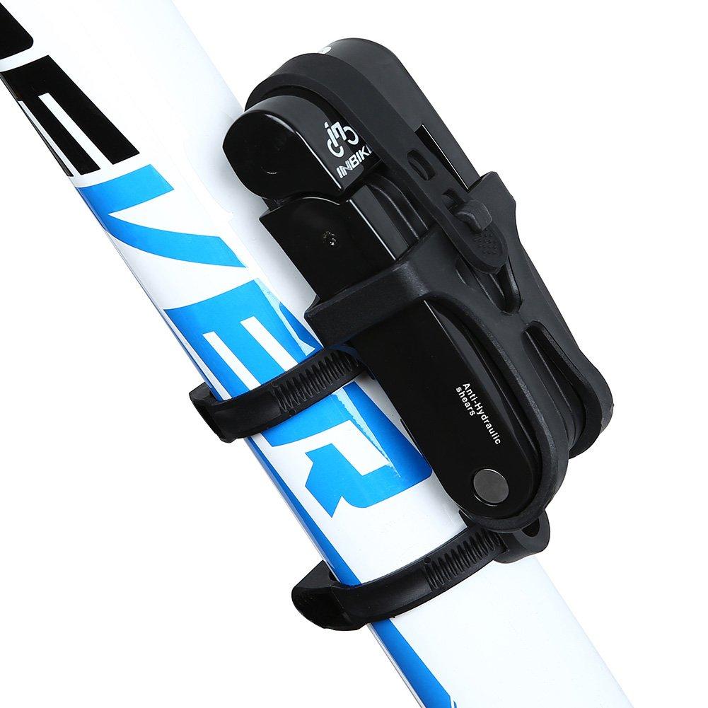 Inbike Faltschlöss für Fahrrad mit Rahmenhalterung
