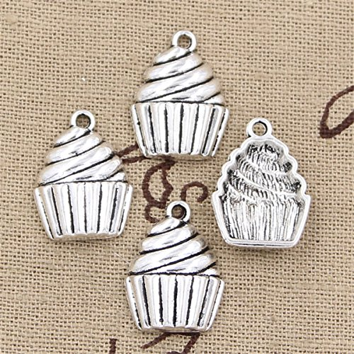 30pcs Charms Cupcake ice Cream 20x15mm Antique Making Vintage Tibetan Silver Zinc Alloy ()