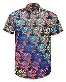 Pizoff Men's Casual Short Sleeve Arc Bottom Luxury 3D Colorful Floral Print Button Down Party Office T-Shirt Dress Shirt AL003-55-L