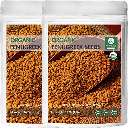 Naturevibe Botanicals Organic Fenugreek Seeds Whole, 2 pounds (Pack of 2-1 lb each), Trigonella foenum graecum | Gluten Free & Non-GMO | Improves Hair and skin health. -