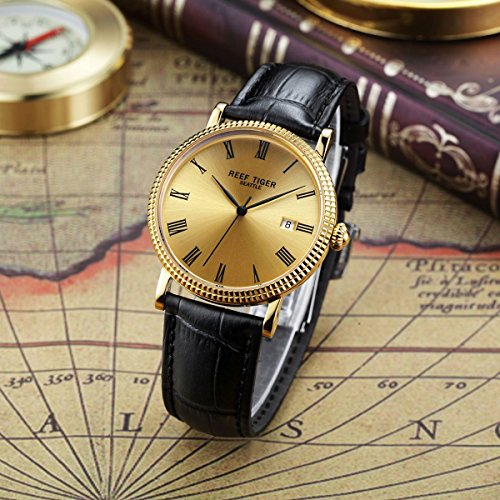 Reef Tiger Designer Dress Watches for Men Yellow Gold Case Leather Strap Date Automatic Watch RGA163 by REEF TIGER (Image #2)
