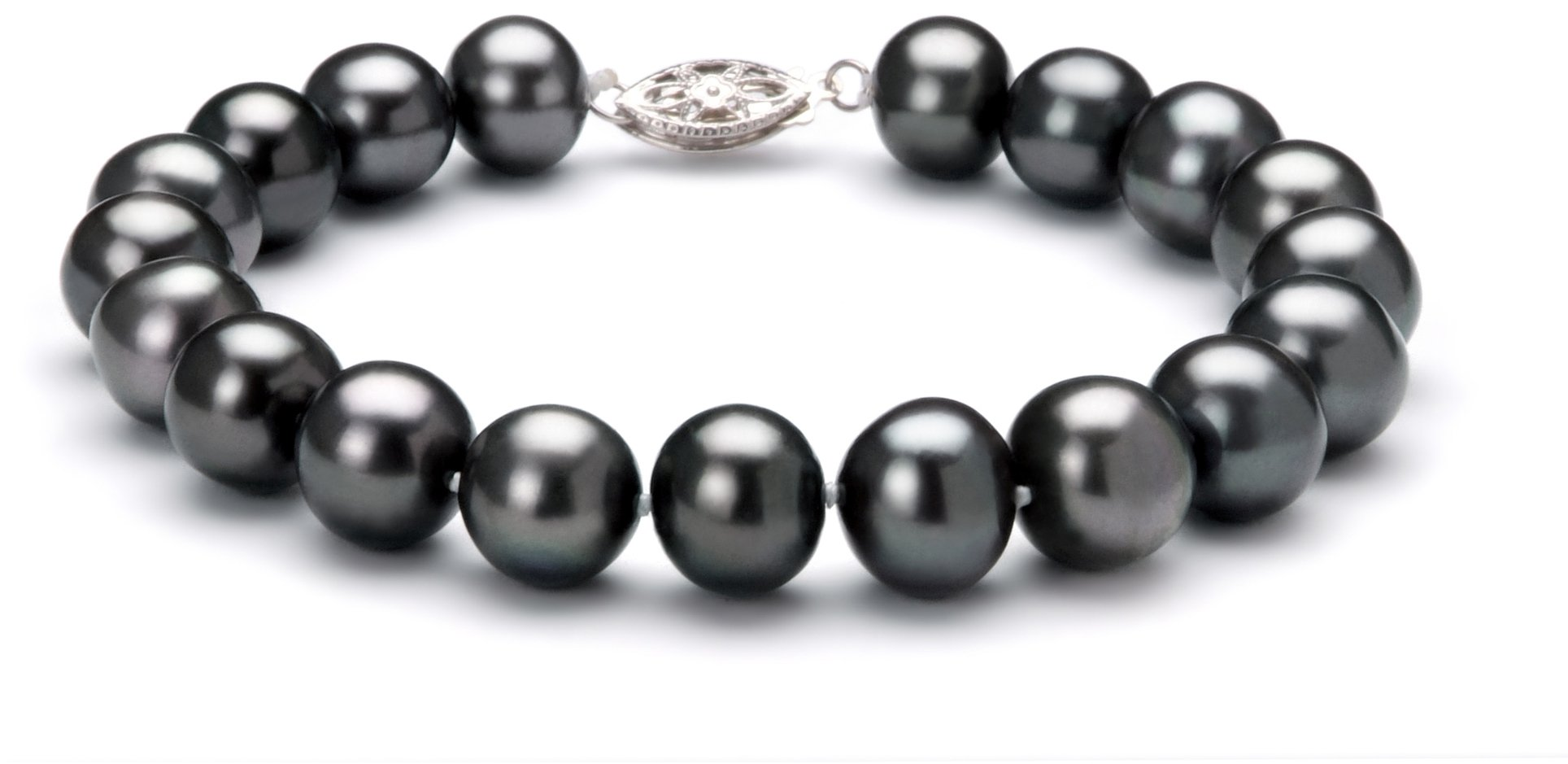 PearlsOnly - Black 8.5-9mm AA Quality Freshwater 925 Sterling Silver Cultured Pearl Bracelet-8 in length