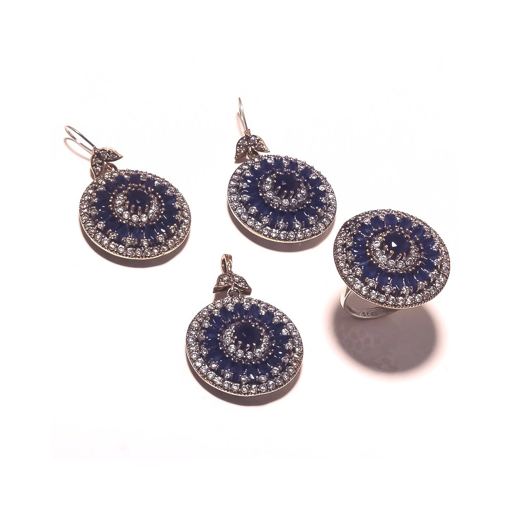 Be You Elegant Blue Glass Rhodium Plated Brass & Silver Turkish Earring, Ring & Pendant Set for Women