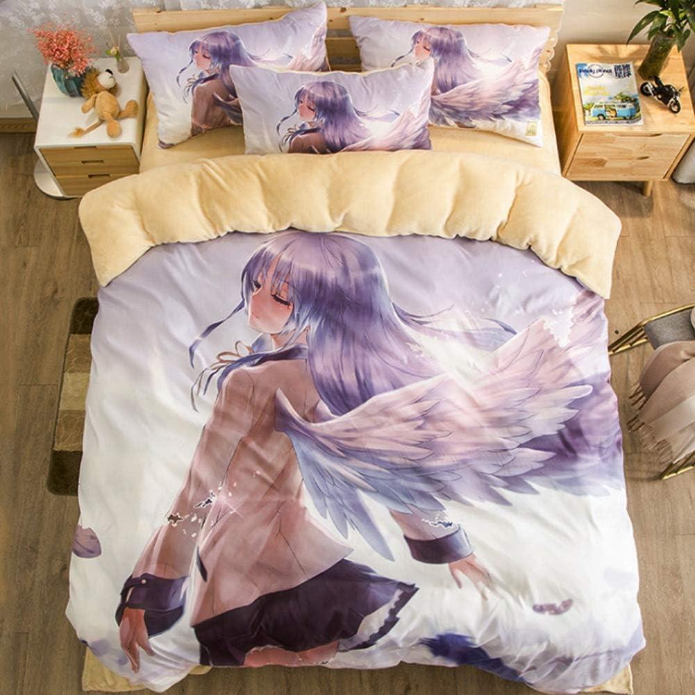 Wangzhi AngelBeats Bettlaken Set Anime Beding 4-teiliges Set Size : 48inch