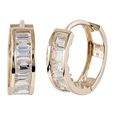 Amazon Com Cz Small Band 14k Yellow Gold Huggie Earrings Jewelry