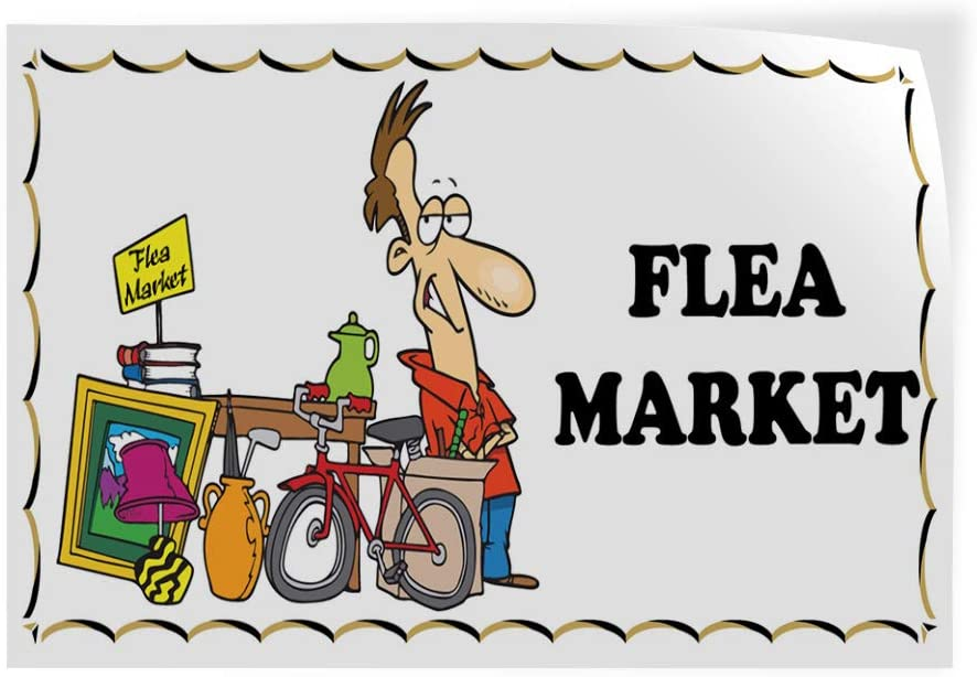14inx10in Decal Sticker Multiple Sizes Flea Market Business Style T Business Flea Outdoor Store Sign Brown Set of 10