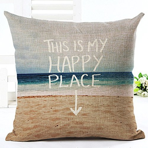 Beautiful Seaside Scenery This is My Happy Place Throw Pillow Case Cushion Cover Decorative Cotton Blend Linen Pillowcase for Sofa 18