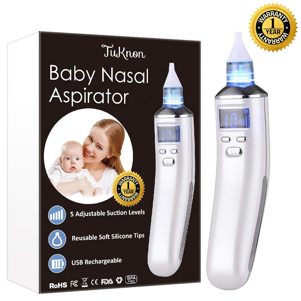 Electric Baby Nasal Aspirator Nose Cleaner and Snot Sucker - Adjustable Settings and Reusable Tips with LCD Screen by TUKNON