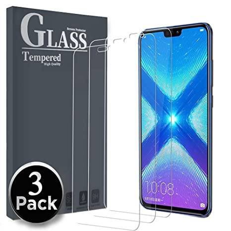 Ferilinso Cristal Templado Honor 8X /Honor View 10 Lite, [3 Pack] Protector