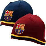 FC Barcelona Reversible Knitted Hat - Barca Beanie - Official Barcelona Product - One Size Fits Most - 100% Acrylic - Reversible Hat One Side Blue One Side Maroon - Both Sides Have FCB Team Crest